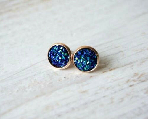 ROSE GOLD SPARKLING DRUZY RESIN PEACOCK BLUE ROUND CLIP ON EARRINGS 12MM