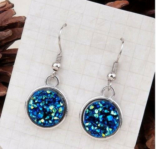 SPARKLING PEACOCK BLUE DRUZY RESIN ROUND DANGLE EARRINGS 12MM
