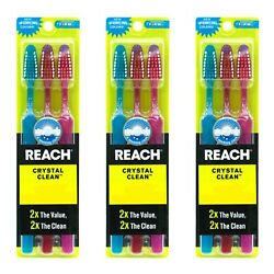 9 PACK Reach Toothbrush Extra Clean FIRM Bristles Hard - FREE SHIPPING!