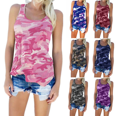 img-Womens Sleeveless Camouflage Vest Tops Ladies Camo Loose T Shirt Casual Blouse
