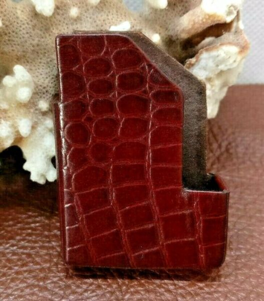S T DUPONT LEATHER LIGHTER COVER CASE BROWN LIZARD LINE 2