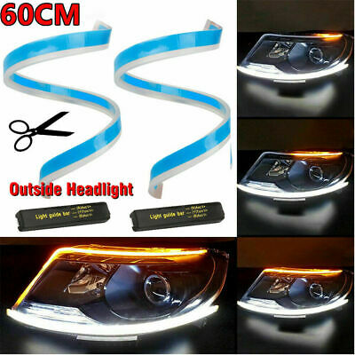 2 x 60CM LED DRL Lamp Amber Sequential Flexible Turn Signal Strip for Headlight