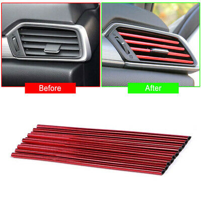 10 Pcs Auto Car Accessories Red Air Conditioner Air Outlet Decoration Strip New