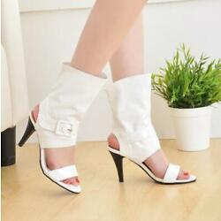 Womens Roma Chic Mid-calf Fashion Sandal Open Toes Buckle Strap Party Shoes Plus