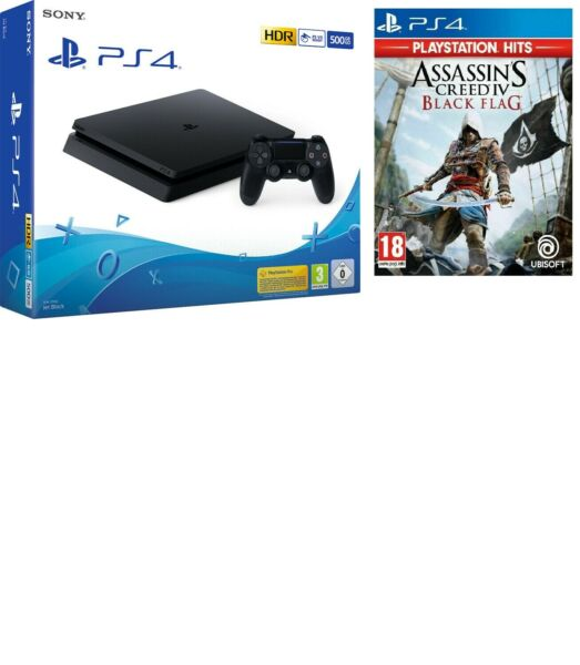 SONY PLAYSTATION 4 PS4 CONSOLE 500GB CHASSIS F SLIM HDR NUOVO NERO + ASSASSIN'S