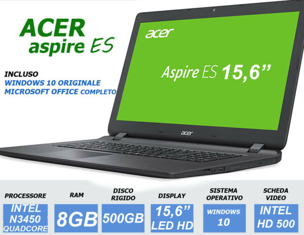 NOTEBOOK ACER 15.6 INTEL N3450 QUADCORE RAM 8GB 500GB PC PORTATILE ASPIRE NUOVO