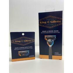 New King C Gillette Shave & Edging Razor & 4 Cartridges FAST FREE SHIPPING