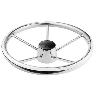 20X(13-1/2 inch Boat Stainless Steel Steering Wheel 5 Spoke 25 Degree for M Q5A9