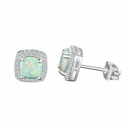 Kyпить Natural Fire Opal and White Topaz Halo Sqaure Stud Earrings 925 Sterling Silver на еВаy.соm