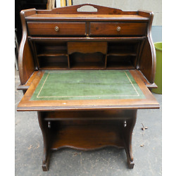 Kyпить Antique Vintage Wood Roll Top Desk w/ Dovetail Drawers & Leather Writing Surface на еВаy.соm