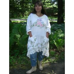 OOAK! Upcycled Vintage Hand Embroidery Linen Crochet Lace Tunic Top NWOT L