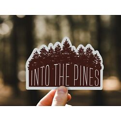 Pine Trees Sticker- Into the Pines, PNW Water Bottle Laptop Decals Waterproof