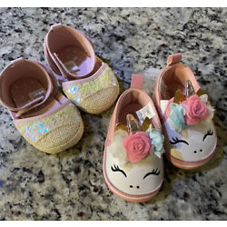Kyпить Lot of 2 Baby Girl Size 6-9 Months Shoe: 1 New Glitter Pink  & 1 Used Unicorn    на еВаy.соm