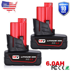 2XFor Milwaukee M12 48-11-2460 LITHIUM XC 6.0 Extended Capacity Cordless Battery