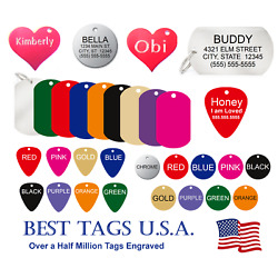 Dog tags personalized FREE Engraving Cat Pet Name ID MADE in USA >$2.86 Shipped!