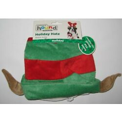 New Outward Hound Holiday Hatz Elf Hat Stretch To Fit Green & Red For Dogs Dog