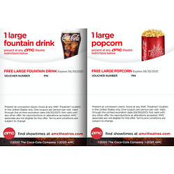 Kyпить ⚡️Fast E-Delivery⚡️AMC Theatres 1 Large Popcorn & 1 Large Drink - Exp 06/30/2021 на еВаy.соm