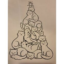 Cat Christmas Tree Decal Sizes Available