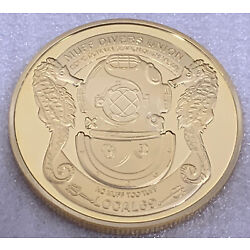 * Muff Divers Union Local 69 Heads / Tails Adult Novelty Coin Token Gold Finish