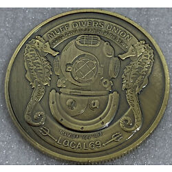 * Muff Divers Union Local 69 Heads / Tails Adult Novelty Coin Bronze Finish
