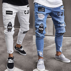 Kyпить Mens Ripped Slim Fit Stretch Designer Biker Denim Pants Skinny Jeans Trousers US на еВаy.соm