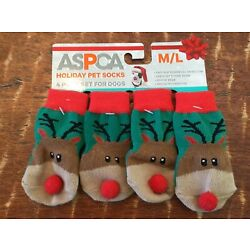 Aspca Holiday Pet Rudolph the Red Nose Reindeer with Gripper Socks Size M/L