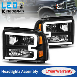 Kyпить Black For 2005 2006 2007 Ford F250 F350 F450 Superduty LED Tube DRL Headlights на еВаy.соm