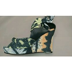 IMPO ORVA OPEN TOE SHOES SZ8.5M MATERIAL FABRIC MULTI COLOR ANKLE TIE NEW IN BOX