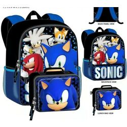 Sonic The Hedgehog Boys School Backpack Book Bag Lunch Box SET Kids Gift Toy 16