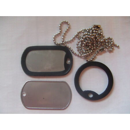 img-Two x US USA Army Military Style Silver Colour Dog ID Tags & Rubber Silencers