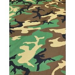 Woodlands Military Camo Nyco Vintage Ripstop 66''W Camouflage Fabric Apparel