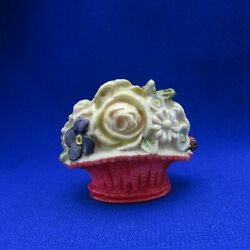 Kyпить Antique Sewing Tape Measure Celluloid Red Basket of Flowers with Ladybug на еВаy.соm