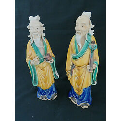 Kyпить Pair (2) Chinese Porcelain Wise Men Yellow Robes Statue / Figurines на еВаy.соm
