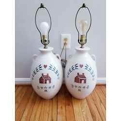 Kyпить Pair Vintage BERMAN Vessel Lamps Country Farmhouse Red Heart Ceramic Table Lamps на еВаy.соm