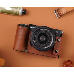 Kyпить Genuine Real Leather Half Camera Case Bag Cover for Sony A7C на еВаy.соm
