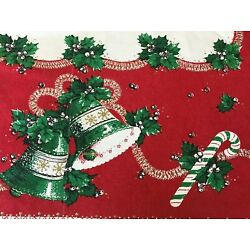 Kyпить Vtg CHRISTMAS BELLS CANDY CANES STARS SNOWFLAKES TINSEL GARLAND Tablecloth HUGE на еВаy.соm