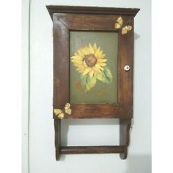 Kyпить Brown Painted Wooden Wall Hanging Cabinet and a door with a painted sunflower на еВаy.соm