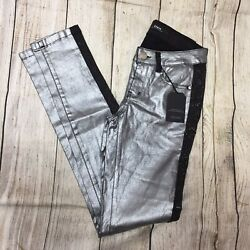 Elpis Crystal Silver and Black Slim Fit Jeans/ New W/Tags Womens Size 27