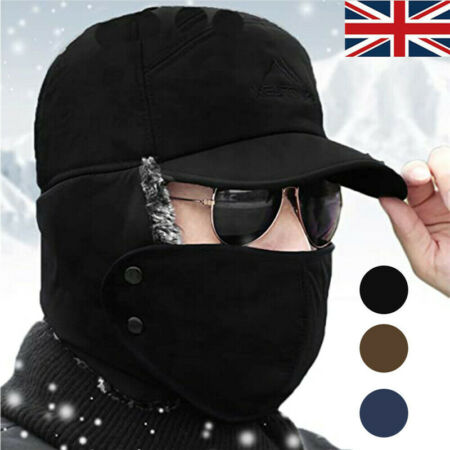 img-Mens Winter Warm Face Mask Cap Aviator Trapper Trooper Ski Hats with Earflap
