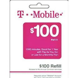 Kyпить T-Mobile $100 Prepaid Refill Card, Air Time Top-Up/Pin RECHARGE(Direct) на еВаy.соm