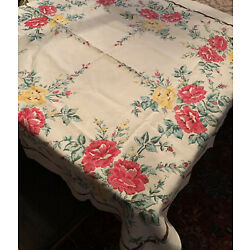 """Kyпить Vintage White Cotton Tablecloth, 52"""" x 62"""" with printed Cabbage Rose Designs на еВаy.соm"""