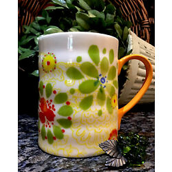 Kyпить Anthropologie BISCUIT Sage Blue Yellow Red Floral Gold Handle Mug  PRISTINE! на еВаy.соm