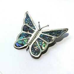 Kyпить VINTAGE Silver ABALONE Inlay BUTTERFLY PIN Brooch Made In MEXICO  на еВаy.соm