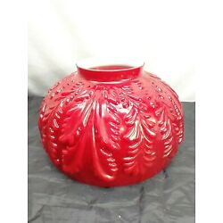 Kyпить Red Cased Glass Hanging Library Lamp Shade Acanthus Leaves Embossed Antique на еВаy.соm