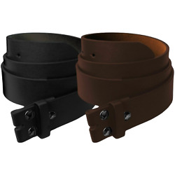 Mens Heavy Duty No Buckle Snap-on Smooth Grain Leather Casual Belt Strap 1.5''