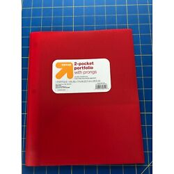 Up&Up Plastic 2 Pocket Portfolio Folder with Prongs~Red Group of 10