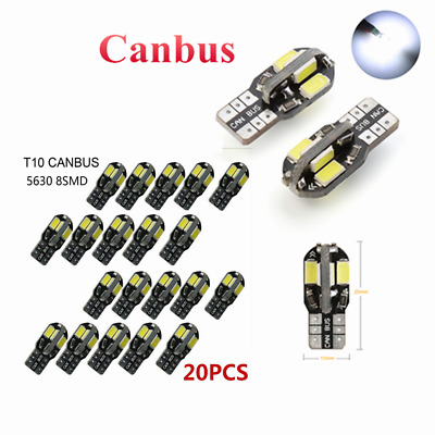 20x Canbus T10 194 168 W5W 5730 8 LED SMD White Car Side Wedge Light Bulb Lamp