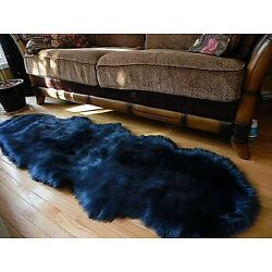 Kyпить Sheepskin Luxury Rug Fluffy Soft Faux Fur Area Rug  Floor Dark Blue 2x6ft FLUFFY на еВаy.соm