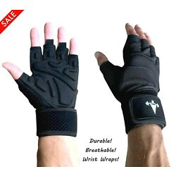 Women/Men Gym Gloves With Wrist Wrap Workout Weight Lifting Fitness Exercise US