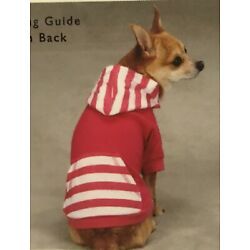 East Side Dog Stripe Pullover Hoodie Tee with Pocket Red or Pink New